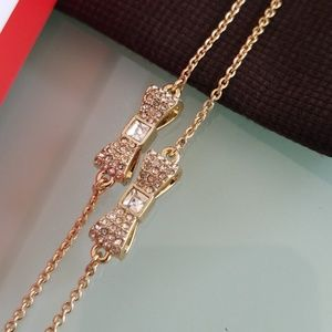 Kate Spade Ready Set Bow pave gold necklace
